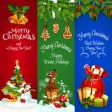 Christmas, New Year Winter Holidays vector banners. Christmas banners set. New Year decorated fir tree. Santa bag with gifts, sleigh. Winter holidays greeting Royalty Free Stock Photos