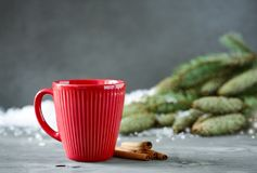 Christmas or New Year winter holidays hot drink in a red cup Stock Images
