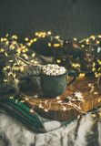 Christmas or New Year winter hot chocolate with marshmallows royalty free stock photos