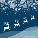 Christmas and New Year winter landscape with deers. Snowfall.  Xmas reindeer and white  snowflakes. Vector  illustration for greeting card or party invitation Royalty Free Illustration
