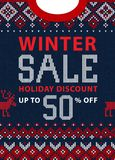 Christmas and New Year winter sale discount banner. Scandinavian sweater. Christmas and New Year winter sale discount banner. Ugly sweater. Vector illustration Stock Images