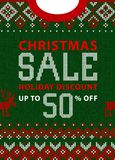 Christmas and New Year winter sale discount banner. Scandinavian sweater. Christmas and New Year winter sale discount banner. Ugly sweater. Vector illustration Royalty Free Stock Images