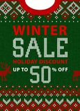 Christmas and New Year winter sale discount banner. Scandinavian sweater. Christmas and New Year winter sale discount banner. Ugly sweater. Vector illustration Stock Photos