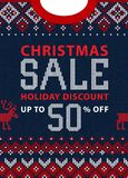 Christmas and New Year winter sale discount banner. Scandinavian sweater. Christmas and New Year winter sale discount banner. Ugly sweater. Vector illustration Royalty Free Stock Photos