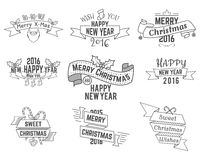 Christmas, New Year and Winter wishes ribbons Royalty Free Stock Photos