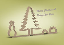 Christmas and New Year wishes. Green Royalty Free Stock Photography