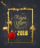 Christmas and new year 2018 wishes on card. Christmas related ornaments objects on color background Stock Photos