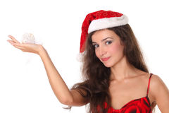 Christmas or New Year woman. Woman with Christmas or New Year decoration isolated on white Stock Image