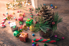 Christmas and new year wooden background banner Royalty Free Stock Photography