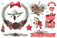 Christmas ,New Year wreath,border,ribbons,group Royalty Free Stock Image