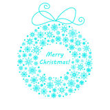 Christmas and New year wreath made from snowflakes, snow. Vector illustration blue on white. For postcard, banner, poster, invitat. Christmas and New year wreath Stock Photos
