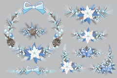 Christmas and New Year Wreath,winter group Stock Photos