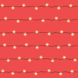 Christmas and New Year yellow led lights garlands seamless patte. Christmas and New Year garland seamless pattern, background. Yellow led lights garland with Royalty Free Stock Photo
