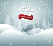 Christmas and New Years background with Christmas Tree Landscape. Vector stock illustration
