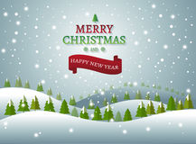 Christmas and New Years background with Christmas Tree Landscape. Vector vector illustration