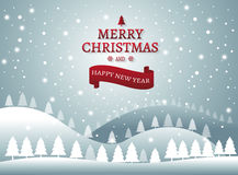 Christmas and New Years background with Christmas Tree Landscape. Vector royalty free illustration