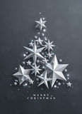 Christmas and New Years  background with frame made of stars Royalty Free Stock Photo