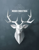 Christmas and New Years background with Paper deer head. Christmas and New Years red background with Triangular Papper deer head vector illustration