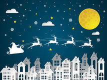 Christmas and New Years background with Santa claus on urban vector illustration
