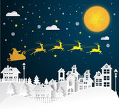 Christmas and New Years background with Santa claus on urban. Vector Stock Photography