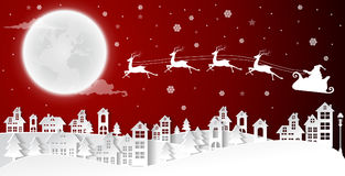 Christmas and New Years background with santa claus and village royalty free illustration