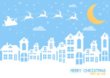 Christmas and New Years background with santa claus and village vector illustration