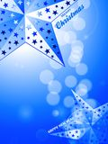 Christmas and New Years blue background with decorative stars. 3D Illustration of Glowing Blue Festive Background with Stars and Decorative Text Royalty Free Stock Photo