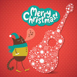 Christmas and New Years card,. Christmas and New Year s card, cat sings a melody Stock Photography