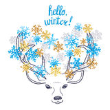Christmas and New Years card design with cute deer. Hello winter vector illustration. Christmas and New Years card design with cute deer and watercolor stock illustration