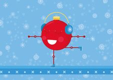 A christmas ornament ball is practicing figure skating. Christmas/New years card for 2017-2018. Simple cute illustration Royalty Free Stock Photo