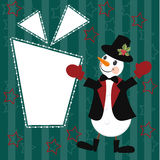 Christmas and New Years card with snowman Royalty Free Stock Image
