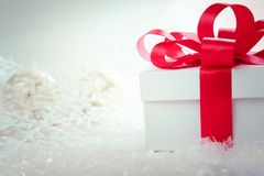 Christmas and New Years Day , red gift box white background Royalty Free Stock Image