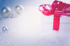 Christmas and New Years Day , red gift box white background Stock Photography