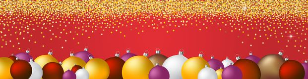 Christmas decoration background web banner. Christmas and new years decoration web banner with christmas balls and specks Stock Photography