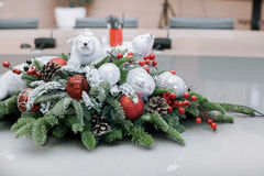 Christmas and New Years  flowers composition. Royalty Free Stock Image