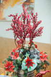 Christmas and New Years  flowers composition. Stock Photo