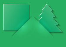 Christmas and New Years green background with pockets with Christmas tree cut out of paper and place for text. Vector illustration stock illustration
