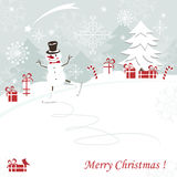 Christmas and New Years greeting card. With skating happy snowman Royalty Free Stock Image