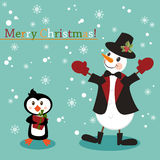 Christmas and New Years greeting card with snowman. Christmas and New Years stile greeting card with snowman and penguin royalty free illustration