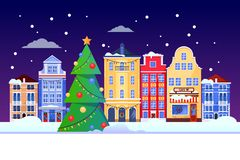 Christmas New Years holiday in Europe city. Vector flat illustration of cityscape with Christmas tree, colorful houses royalty free illustration