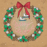 Christmas and New years holidays vector hand drawn illustration. Wreath in retro style. Christmas and New years holidays vector hand drawn illustration stock illustration