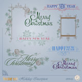 Christmas and New Years Inscription. Vector set: Christmas and New Years Inscription for decoration and design stock illustration