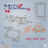 Christmas and New Years Inscription Stock Images