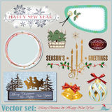 Christmas and New Years Inscriptions, items and ba Royalty Free Stock Photos