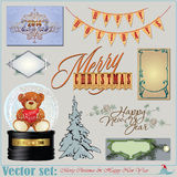 Christmas and New Years Inscriptions, items and ba Royalty Free Stock Image