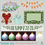 Christmas and New Years Inscriptions, items and ba Stock Photo