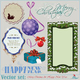 Christmas and New Years Inscriptions, items and ba Stock Image