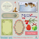Christmas and New Years Inscriptions, items and ba Royalty Free Stock Photography