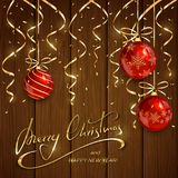 Christmas and New Years lettering with red balls  Royalty Free Stock Photography