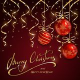 Christmas and New Years lettering with red balls   Stock Photo